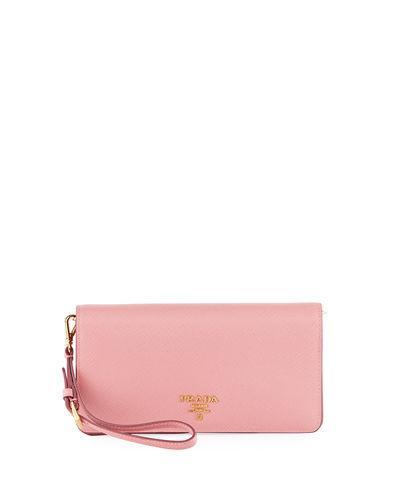 bfaa6f89dc51 Prada Saffiano Flap Phone Wristlet Wallet W  Crossbody Strap