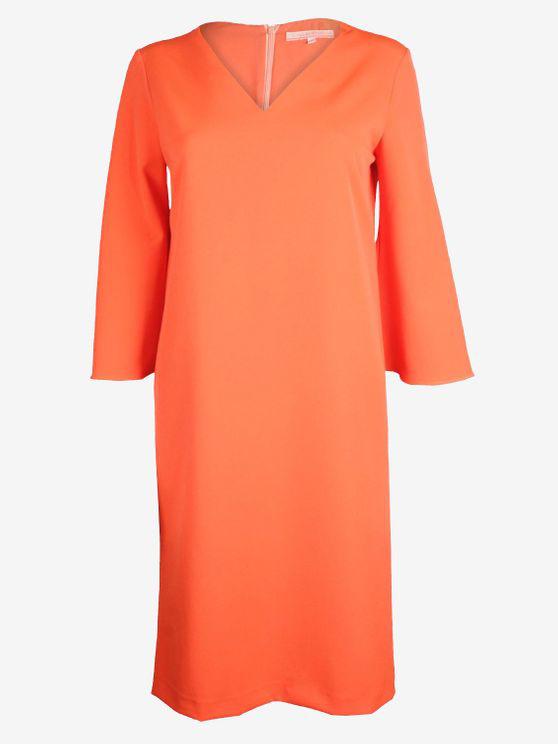 Vilagallo V-neck Midi Tunic Dress Orange