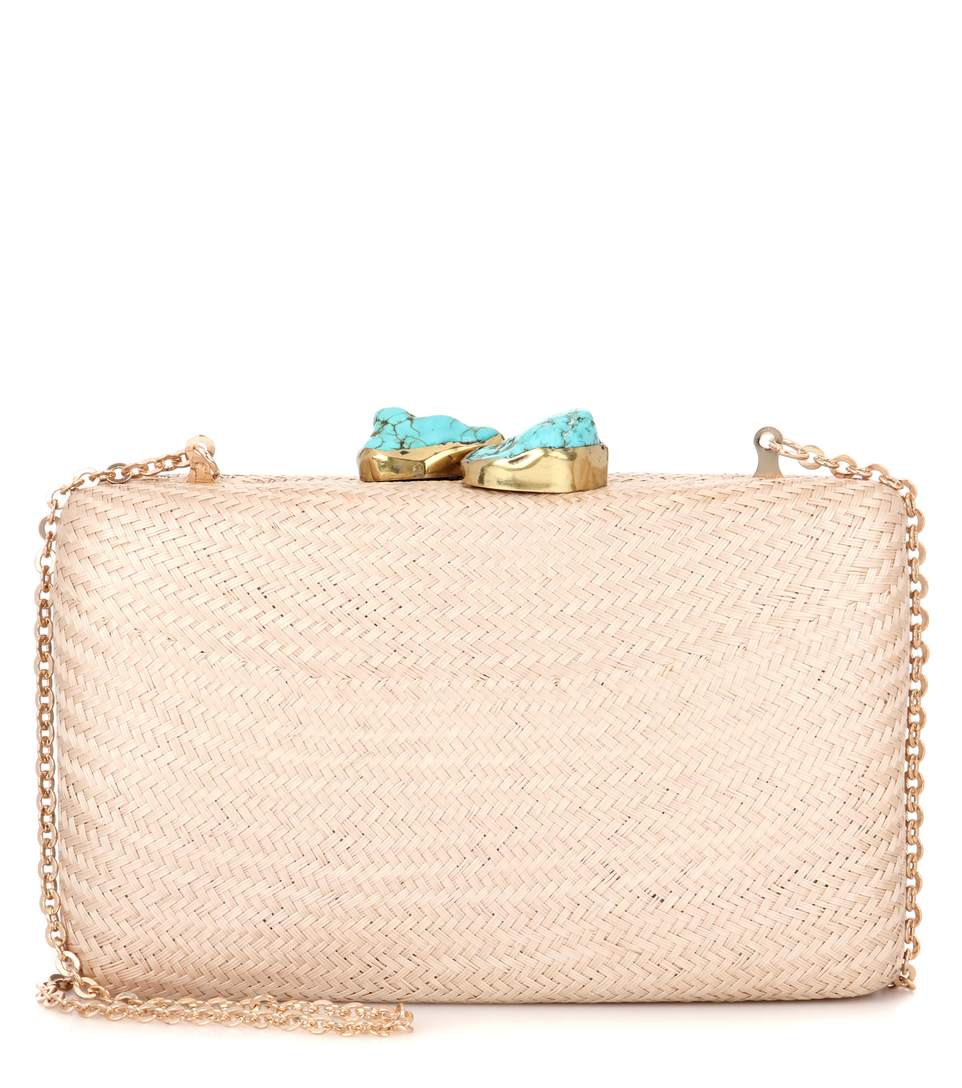 Kayu Jen Embellished Straw Box Clutch In Blush