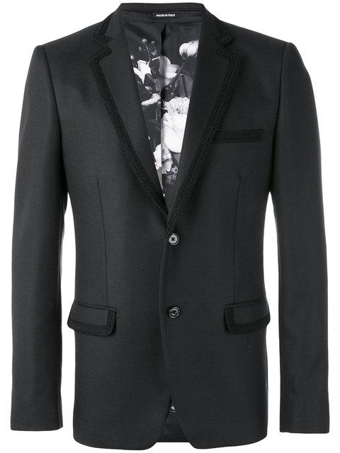 Alexander Mcqueen Navy Passementerie-Trimmed Wool-Twill Suit Jacket In Black