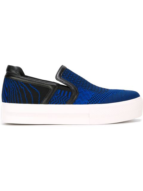 Ash Jeday Perforated Skate Platform Sneakers In Sapphire - Black