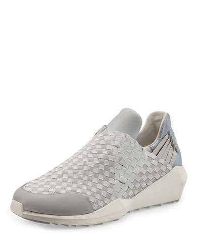 Ash Stretch-woven Slip-on Sneaker, Marble/silver In Off White