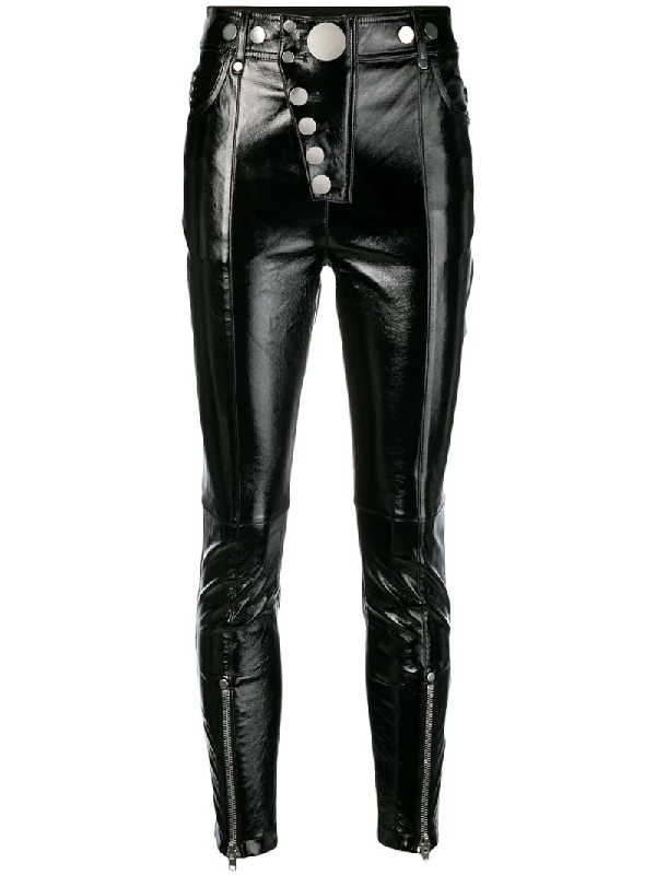 48bbc66d90dc5e Alexander Wang High-Waisted Leather Leggings With Multi-Snap Detail In Black