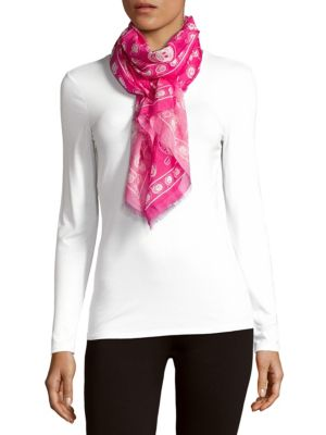 Moschino Printed Rectangular Scarf In Bright Pink