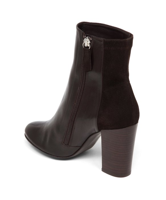 Delman Stretch Leather  Nyla  Ankle Booties In Dark Brown