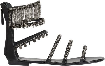 Giuseppe Zanotti Embellished Strappy Flat Sandals In Black
