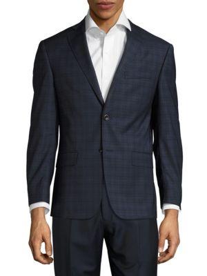 Michael Kors Windowpane Wool Jacket In Navy