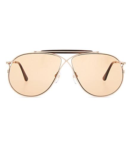 e09e5c839e3f Tom Ford Tom N.6 Aviator-Style Rose Gold-Tone And Acetate Sunglasses ...