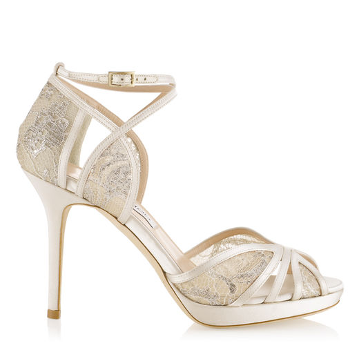 Jimmy Choo Talia 100 Ivory Satin And White Lace Sandals In Ivory/White