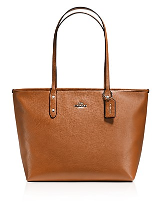 Coach Solid Reversible City Tote, Sv/saddle Banana In Saddle/silver