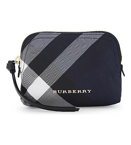 5e055752bbc2 Burberry Checked Small Nylon Pouch In Indigo Blue