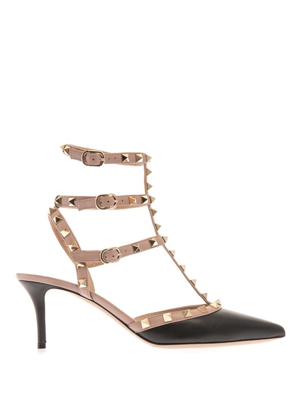 Valentino Rockstud Pumps In Black And Nude-Pink