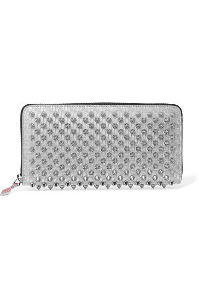 44e22175aa2 Panettone Spiked Glittered Metallic Leather Continental Wallet in Silver