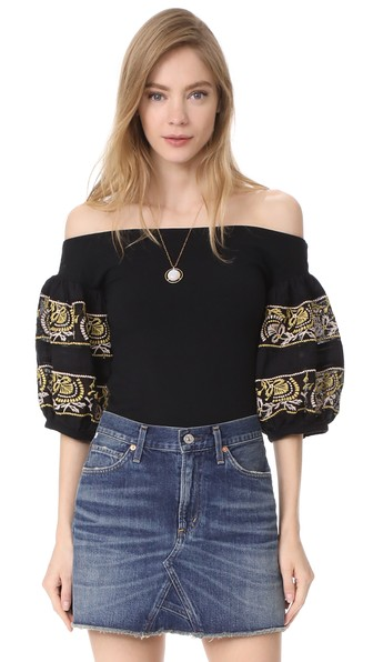 4622e931c4669 Free People Rock With It Embroidered Off-The-Shoulder Top In Black ...