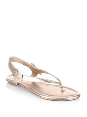 47809e73ba6f Tory Burch Minnie Metallic Flat Travel Sandals In Rose Gold