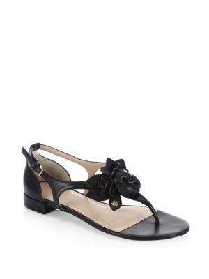 e8da86717a59 Tory Burch leather sandal with floral appliqus. 0.8