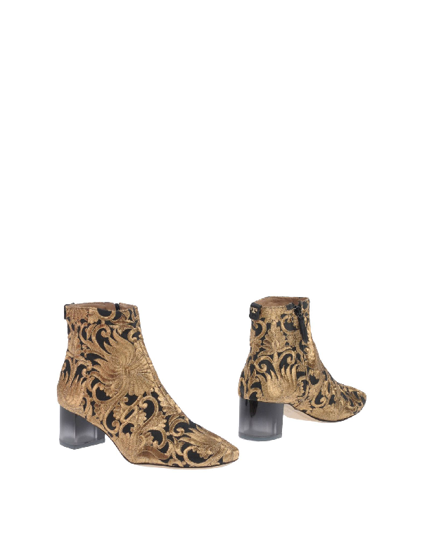 Tory Burch Leather And Fabric Ankle Boot In Metallic