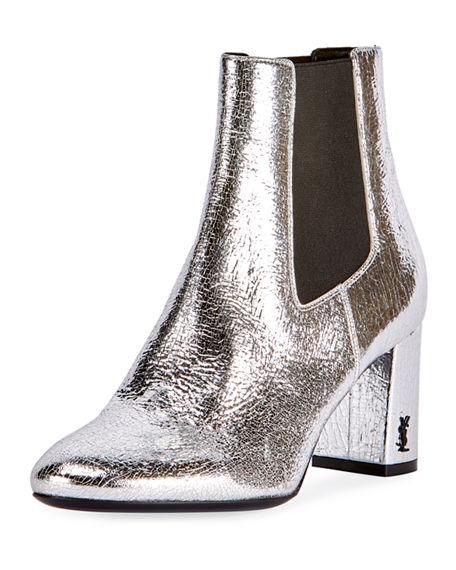 0c09e8b21a6 Saint Laurent Loulou Metallic Leather Block Heel Chelsea Booties In Silver