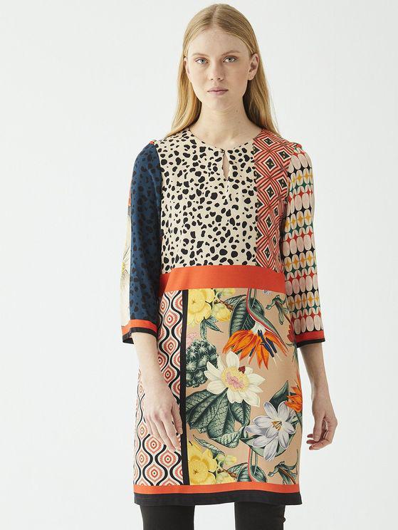 Vilagallo Tesa Patchwork Knee Length Dress Multi