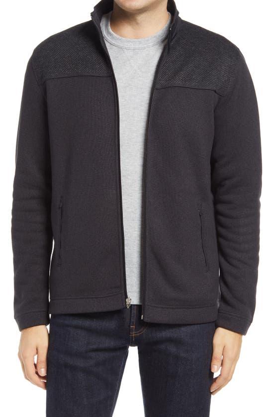 Johnston & Murphy Mix Media Zip-up Jacket In Charcoal