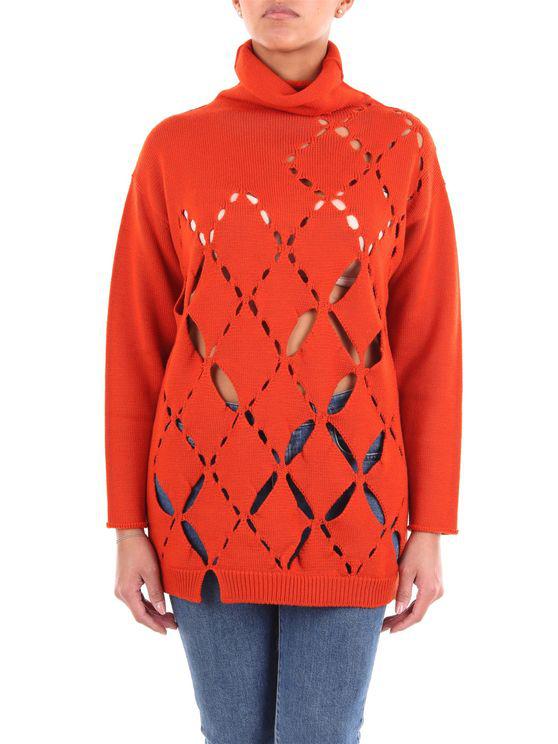 Pierantonio Gaspari Sweater With Orange High Collar