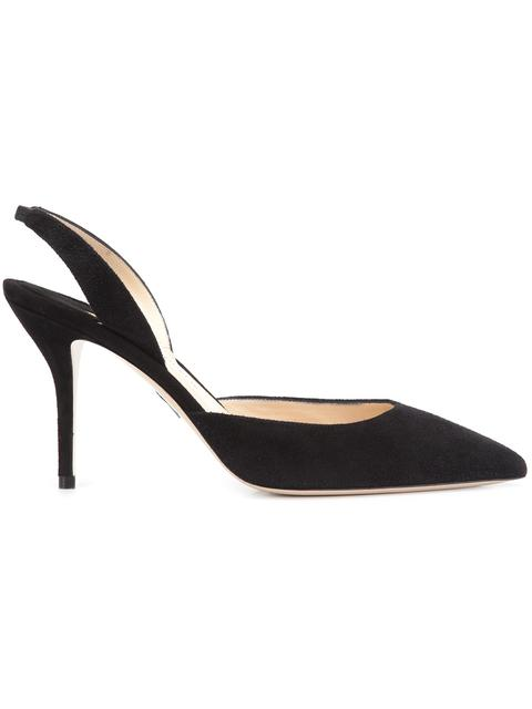 Paul Andrew Rhea Point-Toe Slingback Suede Pumps In Black