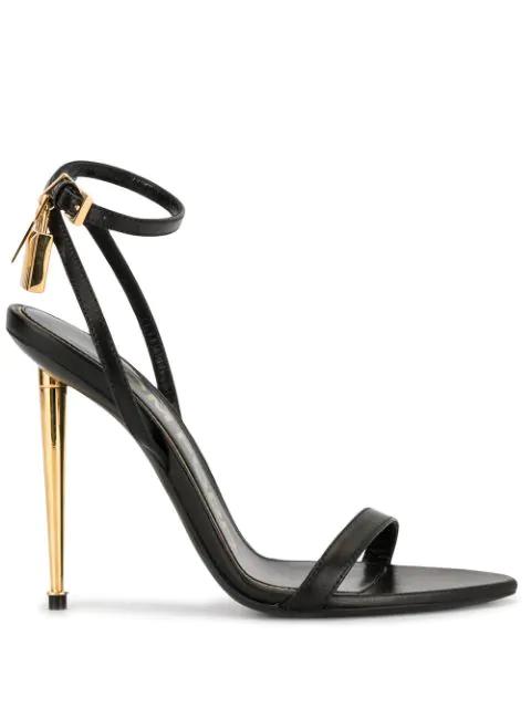 Tom Ford Leather Padlock Ankle-Wrap Sandal, Black In U9000