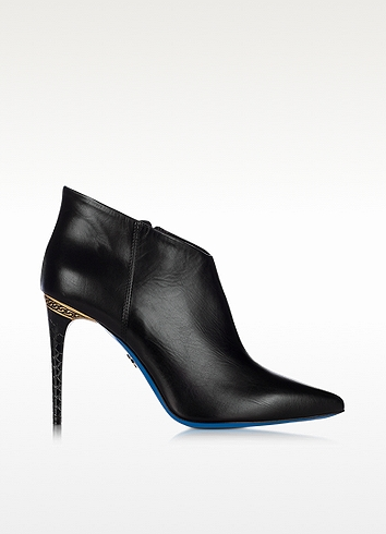 Loriblu Black Leather Pointed Ankle Boot