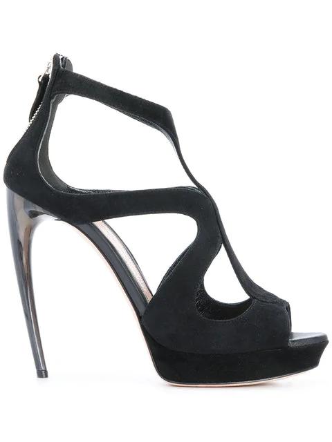 4c8e74e2c4 Alexander Mcqueen Strappy Suede Platform Sandal In 1000 Noir   ModeSens