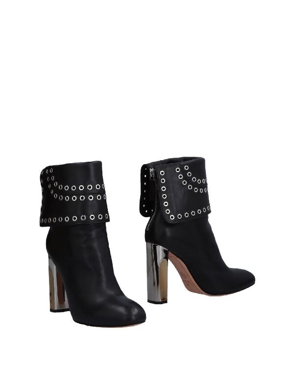 Alexander Mcqueen Eyelet Embellished Foldover Leather Ankle Boots In Black
