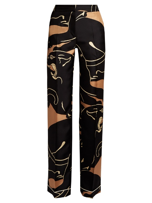 Valentino Panther-Print Wide-Leg Trousers In Black Beige