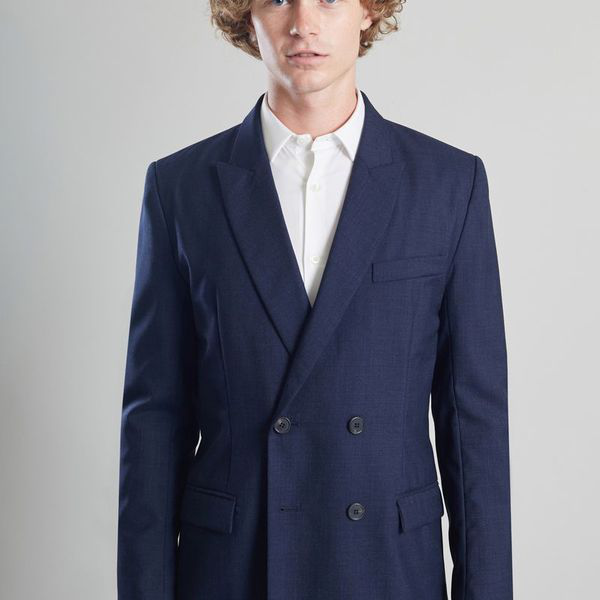 L'exception Paris Double Breasted Suit Jacket Vitale Barberis Navy Blue