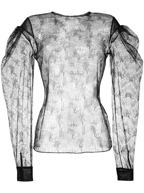 Saint Laurent Sheer Drop Puff Sleeve Lace Top - Black