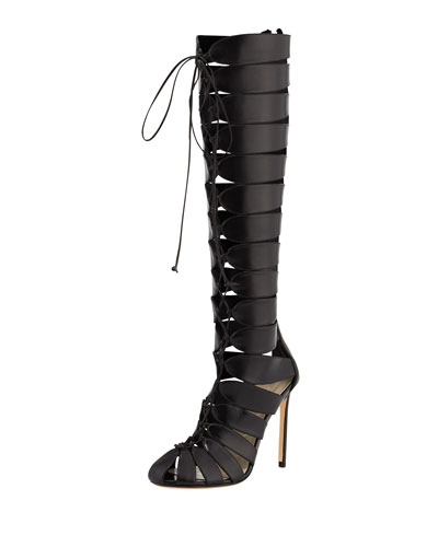 Francesco Russo Lace-up Gladiator Knee Boot In Black