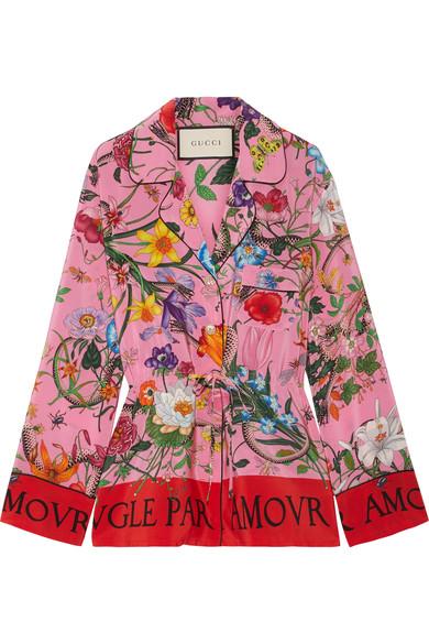 Gucci Printed Silk Crepe De Chine Shirt In Pink