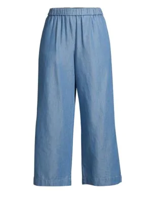 Michael Michael Kors Cropped Wide-Leg Tencel Pants In Light Cadet Wash