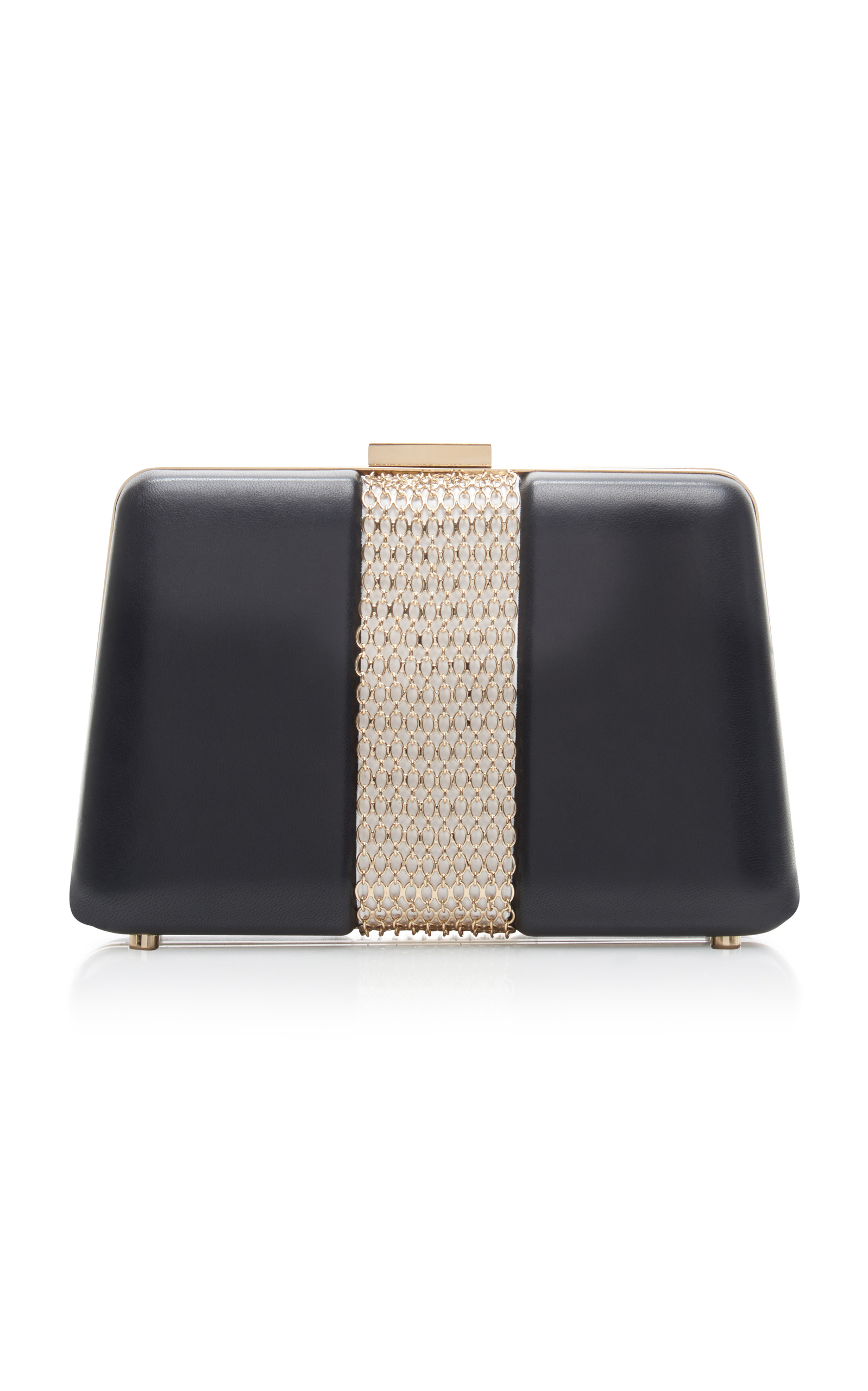 Lanvin Chain Embellished Leather Box Clutch In Black