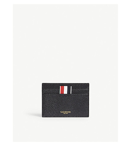 Thom Browne Leather Card Holder In Black