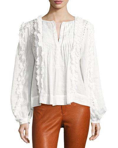 7a8fbe9d31ab60 Isabel Marant Nell Guipure Cotton Lace-Trimmed Ramie Blouse In White ...