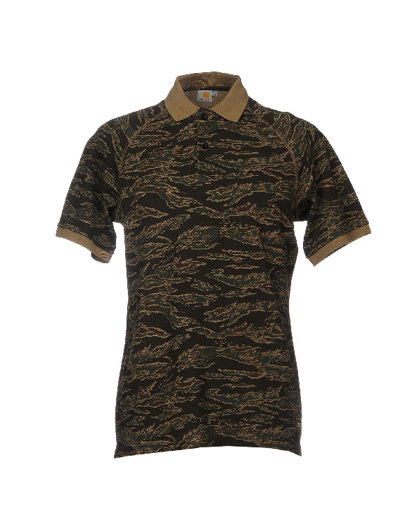 a535a69b Carhartt Camouflage Print Polo Shirt In Military Green | ModeSens