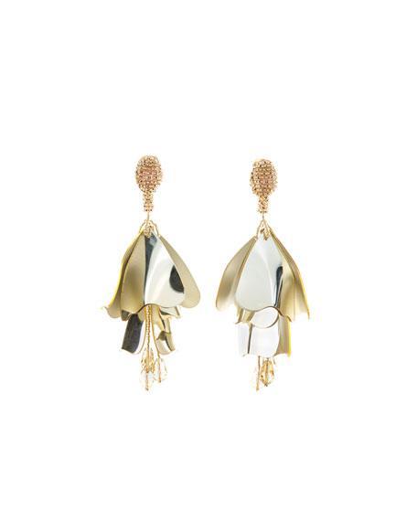Oscar De La Renta Impatiens Flower Drop Earrings, Silver