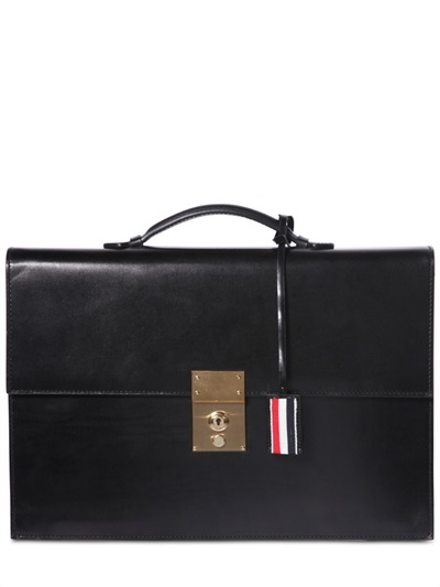 Thom Browne Polished-leather Briefcase In Black