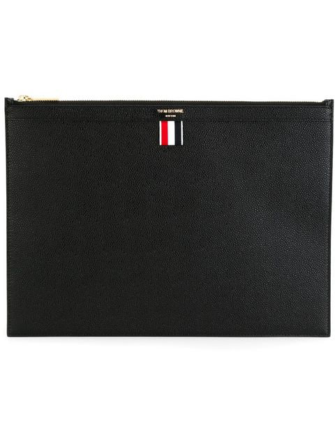 Thom Browne Medium Pebbled-Leather Document Holder In Black