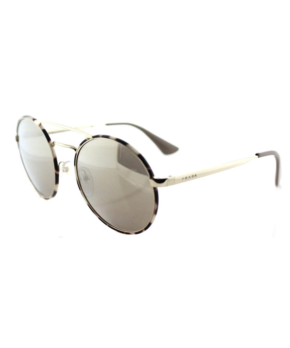 Prada Round Metal Sunglasses In Gold Gold Mirror