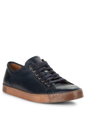 John Varvatos Mick Heritage Mottled Leather Sneakers In Midnight