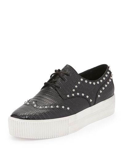 Ash Krush Studded Leather Platform Sneakers In Black