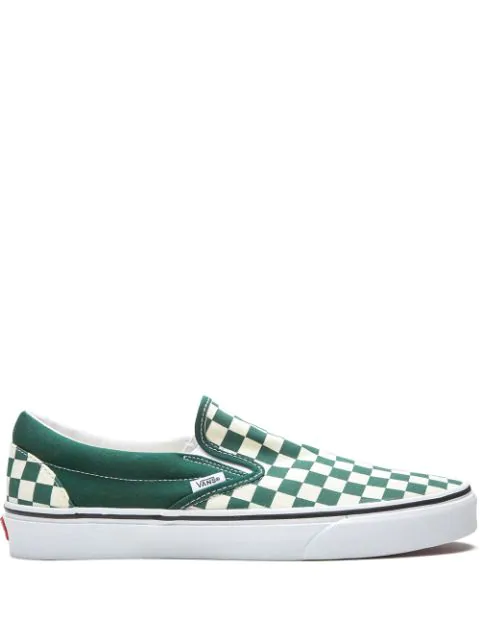 Vans Classic Checkerboard Slip-on Sneakers In Green