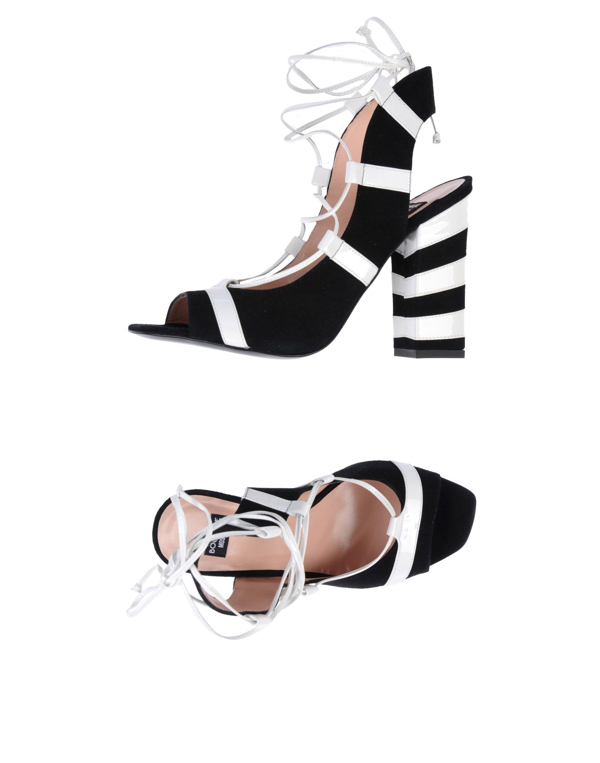 Boutique Moschino Striped Sandal With Block Heel In Black
