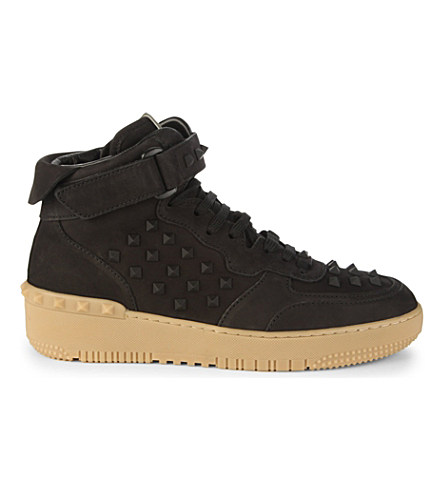 Valentino Rock B Studded Leather And Suede High-top Trainers In Black