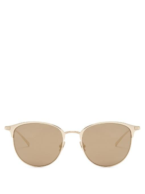 5254a19b43 Saint Laurent Cat-Eye D-Frame Mirrored Sunglasses In Gold